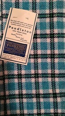 "Pendleton Plaid Wool Fabric with Tag 60"" x 3 Yards"