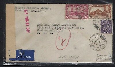 St Lucia (P1609B) 1944 Kgvi  6D+1/-+1D Censor A/m To Usa