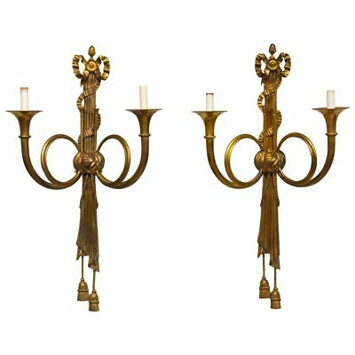 Pair Large 19th Century French Louis XVI Style Bronze Hunting Horn Wall Sconces