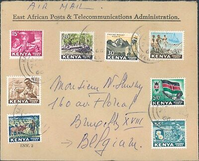 KENYA nice early air cover to Brussels Belgium 1966