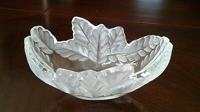 Lalique Oak Leaf Compiegne art glass bowl