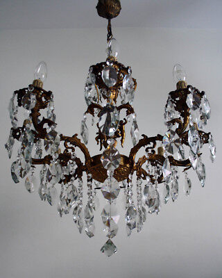 Antique 8 Arms Solid Brass & Crystals Gorgeous Gold Plated Cherub Chandelier