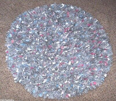 Round T-Shirt Rug 3' Circle Shag Rag Multi Colored Gray Pink Blue Decorative
