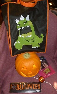 Lot/5 HALLOWEEN Trick Or Treat Bag,New Teeth & Magnet, Jack-o-lantern & Ornament