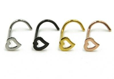 Hollow Heart Shaped Nose Curved Screw 3 Colours Available BN