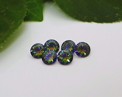 8mm Round Rainbow Fire Cubic Zirconia (CZ) AAAAA Excellent Quality