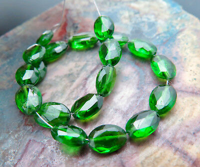 20pc RARE ALL NEW 4.6-5.7mm RICH GREEN CHROME DIOPSIDE BEADS SPARKLING -16.85cts