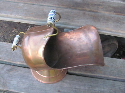 Vintage-Old-Copper And Brass Coal Scuttle With Delft Handles
