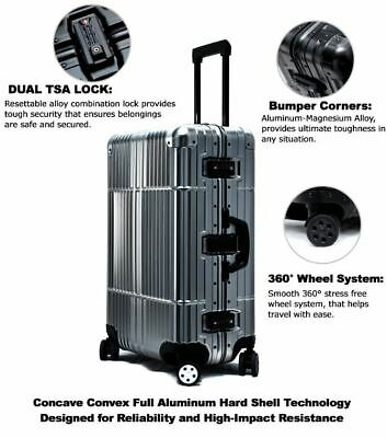 "Cloud 9 - All Aluminum Luxury Hard Luggage Carry On 20"" Durable 360 Degree Spin"