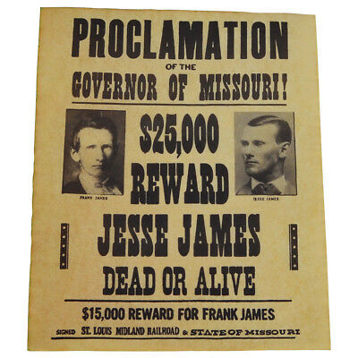 Jesse James Gang Wanted Dead or Alive Outlaw Poster Old West Bar/Pub Wall Decor