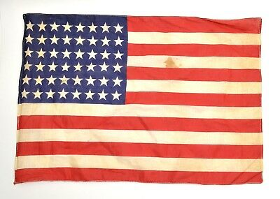 """Antique US FLAG 48 Star Small WWII Era Correct 11"""" X 17"""" (Stains, Holes) 0924-14"""