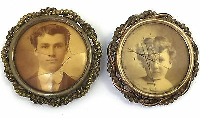 Victorian Mourning Brooch Pin Lot - Need Tlc Or Repair Child & Handsome Man