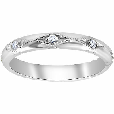 Diamond Wedding Ring Vintage Stackable Womens Engagement 14k White Gold Band