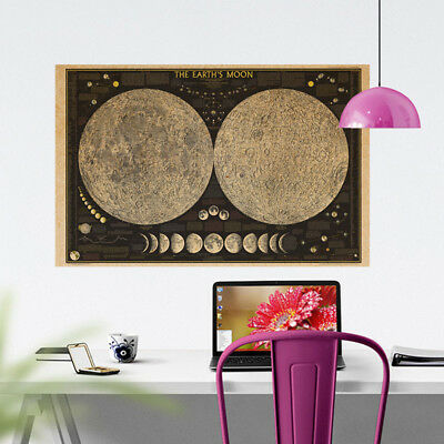 72*48cm Geographic Earth's Moon National Map Poster Image Wall Chart Decor Gift