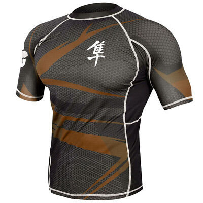 Hayabusa Metaru 47 Silver Short Sleeve Rashguard - Small - Black/Brown