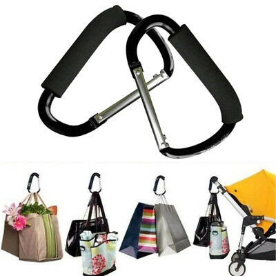 New Universal Large Buggy Clip Pram Pushchair Shopping Bag Hook Carabiner X 2 UK