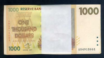 Bundle of 2007 Zimbabwe One Thousand Dollar Banknotes - Uncirculated