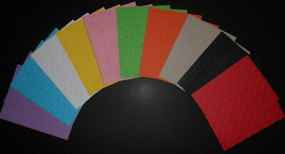 EMBOSSED PAPER x 20 ~10 COLOURS ~10 DESIGNS~ SCRAPBOOKING/CARDMAKING