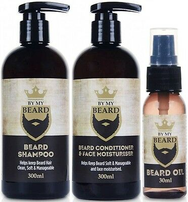 By My Beard Oil Gift Set - 30ml  Oil + 300ml Shampoo + 300ml Conditioner (Vegan)