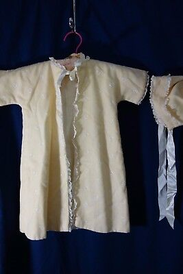 1940's Baby Coat & Hat-Cream Wool Flannel/Lace & Embroidery- VG-BEAUTIFUL-  SALE