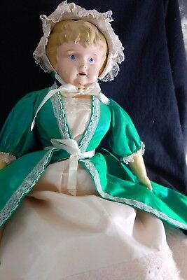 "Victorian Tin Head Doll- 20""- Marked Germany- w/Green Dress & Hat- CHARMING-SALE"