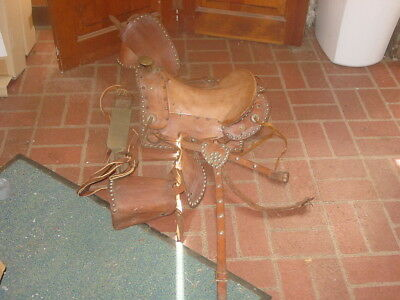 "Nice Vintage Early Spotted 11"" Pony Saddle Cinch&breast Plate"