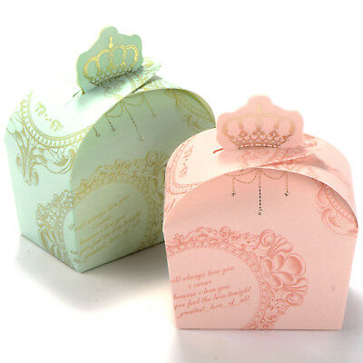 50pcs Wedding Favour Candy Boxes Gift Box Crown Style Pink / Green