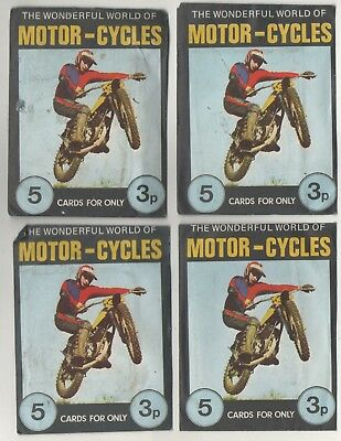 1970's 4 Packets of FKS The Wonderful World of Motor-Cycles 5 cards per pack