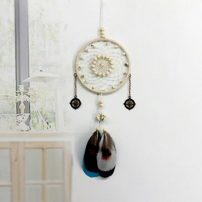 Handmade Hanging Circular Net Dream Catcher with Feather Wall Car Decor Ornament