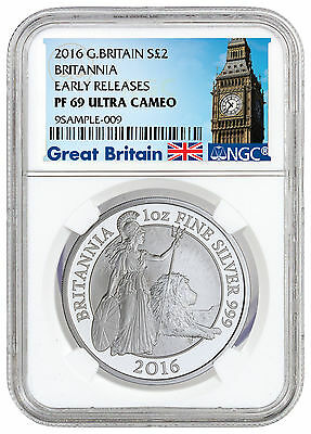 2016 Great Britain 2 Pound 1 oz. Proof Silver Britannia NGC PF69 UC ER SKU42053