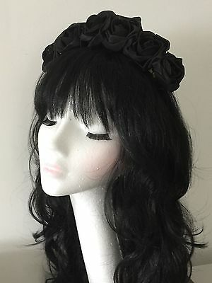Black Rose Flower Floral Crown Headband Garland Festival Boho Vintage