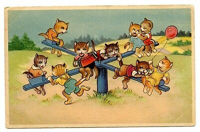vintage cat postcard dressed cats play on park merry go round CAT CHARITY