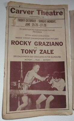 Rocky Graziano, Sandy Saddler Boxing Theater Billet Carver Theater