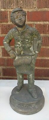 Industrious Boy: Victorian White Metal Statue Paperboy Xtra Xtra, Newspaper