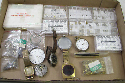 Large Lot Of Antique Pocket Watch Wristwatch Movement Parts Repair