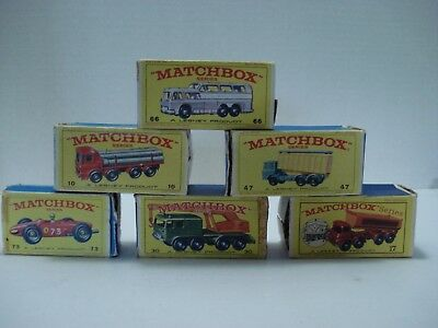 MATCHBOX LOT OF 6 DIFFERENT EMPTY BOXES # 10 - 17 - 30 - 47 - 66  and 73 VINTAGE