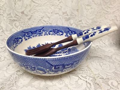 Vintage, 3-pc Blue Willow Party Pasta or Salad Bowl Set 4inT x 10in D