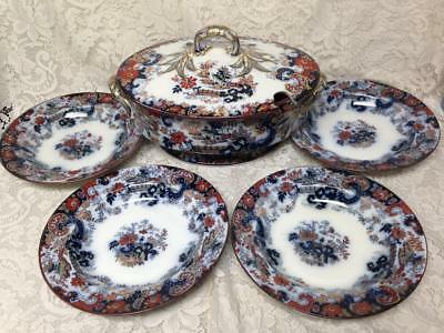 Antique, Ridgway, Large, Gaudy Flow Blue Willow, Soup Tureen with 4 Soup Bowls