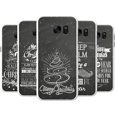 Black Vintage Typography Christmas Hard Case Phone Cover for Samsung Phones