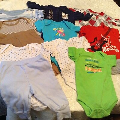 Lot Of 11 Pieces Baby Boy Clothes Faded Glory Oneies Pants Sleepers 0-3 Mos