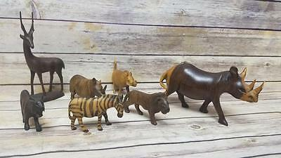 Bundled Lot 7 Collector's Traditional Hand Carved Wooden African Animal Figures