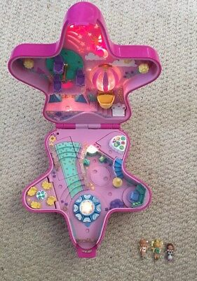Vintage 1990s Pink Hard Case Polly Pocket Light Up Star Evening/ Night Out House