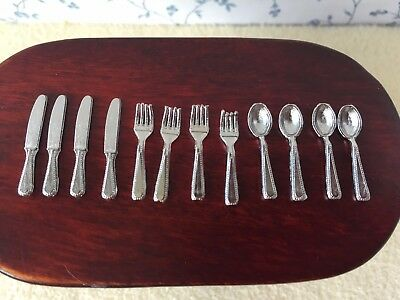 1:12 Scale CUTLERY SET Silver Colour 12 Piece Knives/Forks/Spoons Kitchen/Dining