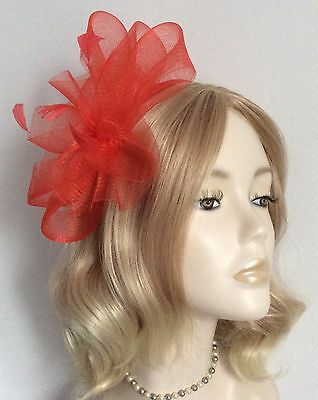 HANDMADE CRIN FASCINATOR, With feathers, on covered headband, Brand new