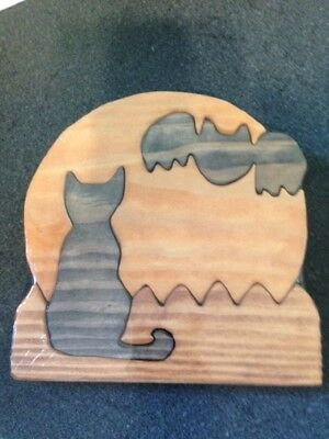 Wood Cat, Bat, and Moon Scroll Saw Puzzle - Handmade - 4 Pieces - Stained