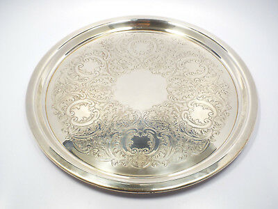 """Vintage Sheridan Silverplate Floral Engraved Design Round Tray, 13"""""""
