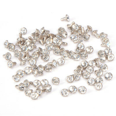 Crystal RIVET STUDS 100pcs 7mm Diamante Clear Silver Rock Leathercraft PUNK