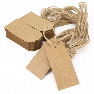 100PCS Brown Kraft Paper Blank Drawing Gift Tags Label Luggage Wedding Strings