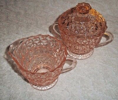 Jeannette Pink Depression Glass Holiday Buttons & Bows Creamer, Sugar & Lid