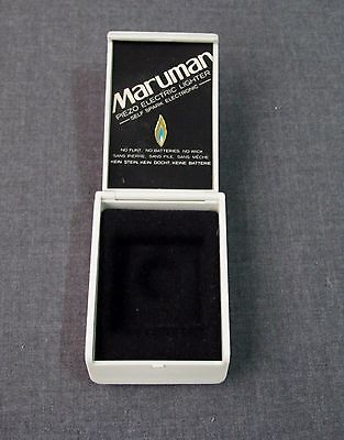 Vintage Maruman Piezo Electric Lighter Off White Plastic Box Made In Japan